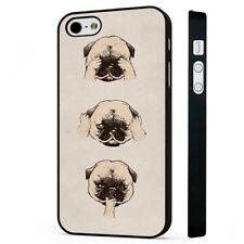 Pug See Hear Speak No Evil BLACK PHONE CASE COVER fits iPHONE