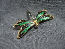 Vintage rhinestone eyes green & black enamel golden metal large dragonfly pin