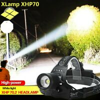 XHP70 LED Headlamp Headlight Reachargable Zoom Torch Lamp 18650 Light