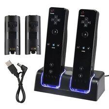 Pack BASE NEGRA cargadora + 2 BATERIAS 2800mAh para mando d Nintendo Wii Wiimote