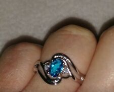 Womans Size L. Aquamarine & White Topaz 925 Sterling Silver Ring