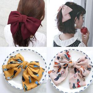 Fashion Big Large Girls Silk Bow Barrettes Hair Clips For Women Hair Accessories