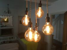 Cluster of 5 Vintage Edison Filament Bulb Ceiling Light (Squirrel Cage G95)