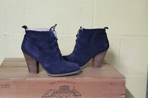 BLUE SUEDE MID HEEL ANKLE BOOTS SIZE 5 / 38 BY ASOS USED CONDITION