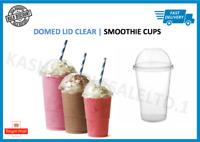 Disposable Smoothie Cups & Domed Lids Clear Plastic Party Milkshake Juice Slush