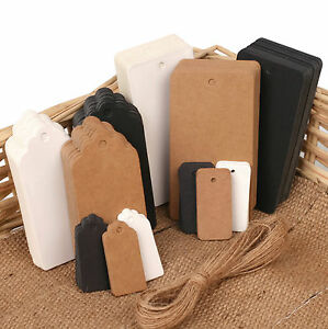 ECO KRAFT Paper Gift TAGS Card Label | Free string | 100 Per Pack | UK Seller