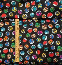 """Rare Black Cotton Pokemon Pokeball Fabric Piece 8 1/2"""" by 10"""""""