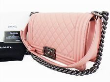 Authentic CHANEL Boy Bag Shoulder Hand Chain Flap Pink Quilted Medium W25 W10