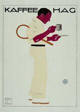 Kaffee Hag, 1913, LUDWIG HOHLWEIN Reproduction Vintage German Coffee Poster