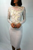 Asos White Floral Bugle Red Carpet Embellished Shift Wedding Midi Dress 14 42