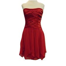 BCBGmaxazria red strapless party dress bandage top chiffon draped skirt Sz 0 2