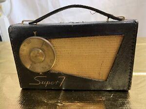 VINTAGE PERDIO TRANSISTOR 7 RADIO LEATHER CASE SPARES REPAIRS COLLECTABLE 50/60s