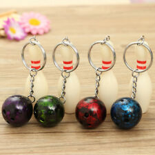 1pcs Mini Bowling Pin and Ball keychain key Ring 3D Keyfob Keychain Fashion Gift