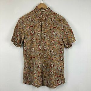 H&M Mens Button Up Shirt Size M Multicoloured Floral Short Sleeve Collared