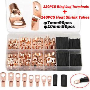 260PCS Car Auto Copper Ring Lug Terminal Wire Bare Cable Crimp Connectors Kit