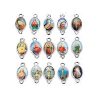 50Pcs Holy Catholic Religious Crosses Enamel Medals Charms Connexctor 17mm