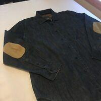 John Bartlett Denim Button Down Shirt w/ Corduroy Elbow Patches Men's Size Large