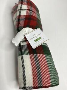 """Pottery Barn Denver Plaid Holiday Christmas Throw Blanket Red 50""""x 60"""" *NEW"""