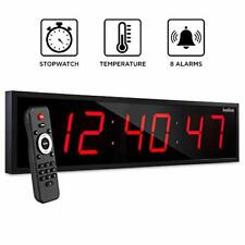"""Ivation 36"""" Inch Large Big Oversized Digital Led Clock w/ Stopwatch & Timer Red"""