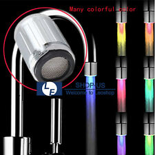 New 3 Color Temperature Sensor LED Light Kitchen Water Tap Faucet Glow Shower