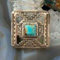 Sterling Silver Southwestern Native Motif with Turquoise Brooch For Women & Men