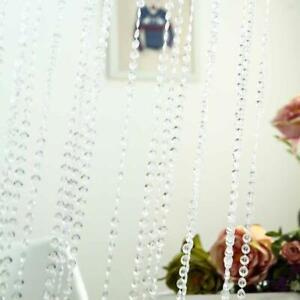 CLEAR 8x3 ft Acrylic Diamond Cut Beaded Curtain With Metal Rod Top Decorations