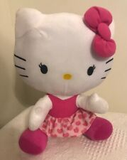 "Hello Kitty Plush ~ Hearts and More Hearts ~ Pink Heart Skirt & bow 11"" Tall Tou"