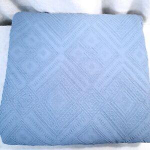 PIU BELLE Portugal Matelassé blue Coverlet bedspread Geometric Diamond Queen