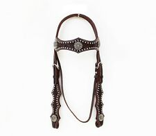 Western Brown Leather Shaped Brow band Style Headstall with Spots