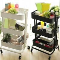 3-Tier Kitchen Trolley Cart Metal Storage Tower Rack Bathroom Shelf Casters