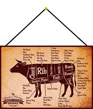 Beef Cuts Rind Blechschild Schild mit Kordel Metal Tin Sign 20 x 30 cm FA0584-K
