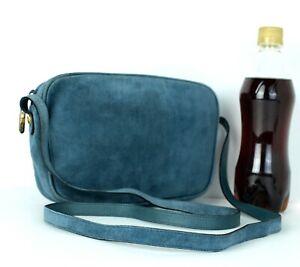 Auth SALVATORE FERRAGAMO Blue Suede Leather Mini Shoulder Bag Purse Italy Used