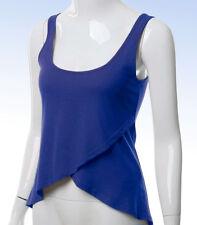 Doublju Women's Faux Wrap Tank Top Sleeveless Crop Shirt - BLUE - Large