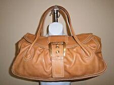 Celine CE00/14 Made in Italy Caramel Leather Buckle Detail Large Vintage Handbag