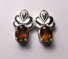 HESSONITE GARNET 6x4mm Oval .925 Sterling Silver Fancy Stud Earrings