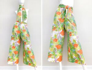 Vintage 70s Floral Print Palazzo Pants - High Waisted Wide Leg Ankle Pants