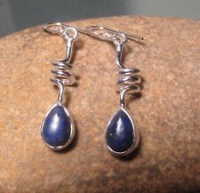 Sterling silver spiral cabochon LAPIS LAZULI earrings. Gift bag