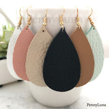 Leather Earrings Teardrop Bohemian Drop Pink Black White Mint Metallic - USA