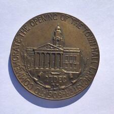 1909 MEDALLION COMMEMORATE OPENING TOWN HALL LANCASTER / LORD ASHTON