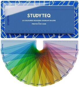 15 x Studyteq Professional Dyslexia Coloured Reading Overlays And Rulers + Case