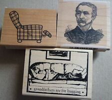 Rubber Stamps x 3, Vintage Man, Grandfather, Reclining Chair, Male Dad Father