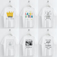 Women Casual T-shirt Letters Crown Star Printed Round Neck Short Sleeve Top Tee