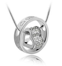 Silver Heart Necklace Womens Crystal Chain Rhinestone Love Heart Ring Pendant
