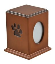 Paw Print Small Brown Wood 50 Cubic Inches Cremation Urn with Photo Frame