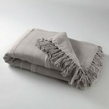 SCENARIO Small Nedo Fringed Bedspread in Grey - 150cm x 150cm