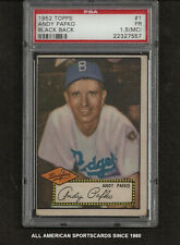 1952 TOPPS # 1 ANDY PAFKO BLACK BACK  PSA 1.5 FAIR (MC) Brooklyn Dodgers