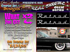 "X2 ""Rat Rod"" REAL CHROME VYNIL Decal set Looks like a real emblem Cool."