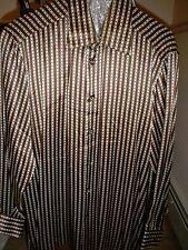 Beautiful & Stylish GIANNI VIERA Brown SILK shirt--Made in Italy---Size= Medium
