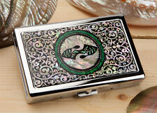 Mother of Pearl Bird 100S King Size Cigarette Metal Slim Bill Case Holder Wallet