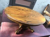 RARE OVAL Antique Coffee Oak Table~End Accent Display~Tripod Pedestal~Lion Paws
